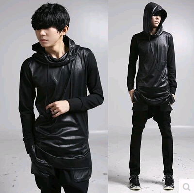 jaqueta de couro com capuz look all black