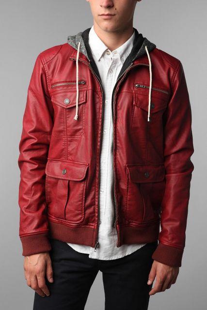 jaqueta de couro com capuz masculina manga longa
