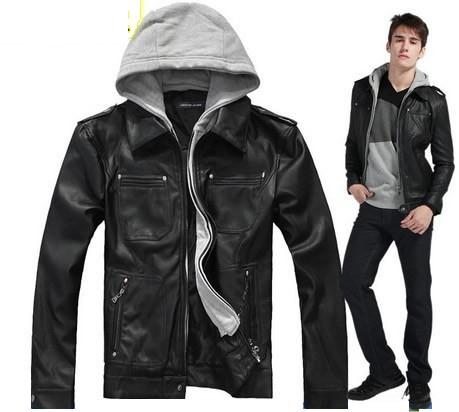 estilos de jaqueta de couro com capuz para homens