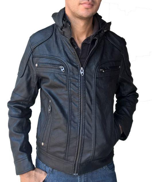 jaqueta de couro com capuz na moda masculina