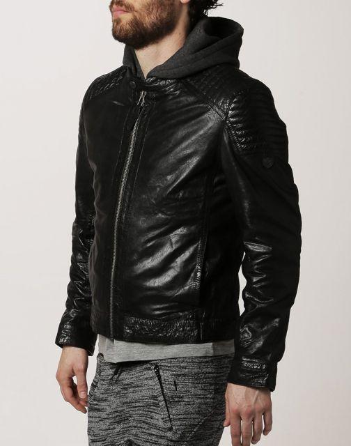 onde comprar jaqueta de couro com capuz para homens