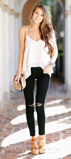 looks para festa com jeans e blusa