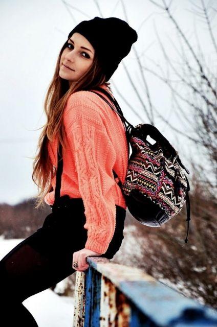 moda inverno com mochila étnica
