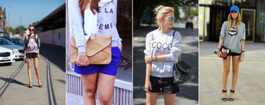 looks com shorts para usar com moletom feminino