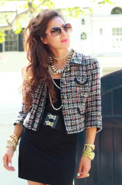 moda com casaco tweed