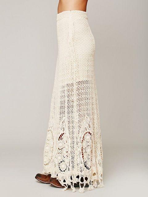bota combina com saia longa de crochê