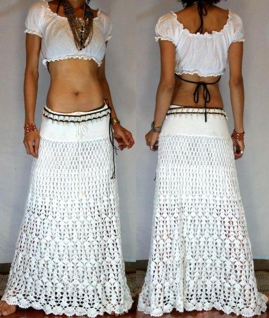 moda verão com saia longa de crochê