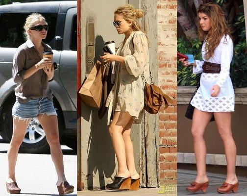 tamanco de madeira na tendência da moda