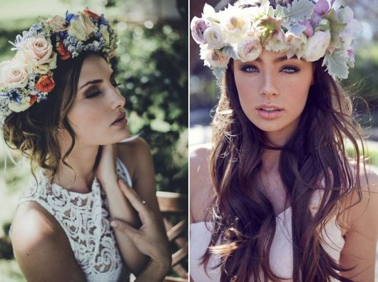 exemplo de como usar coroa e tiara de flores no casamento