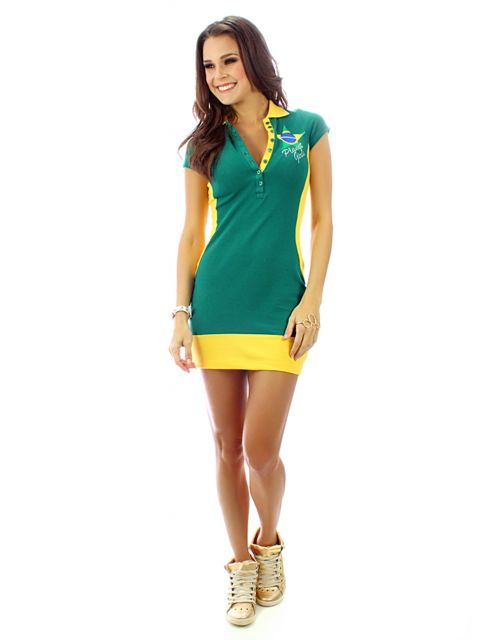 vestido polo curto verde e amarelo