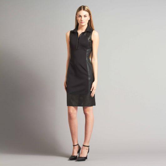 vestido polo curto preto