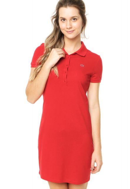 vestido polo curto vermelho