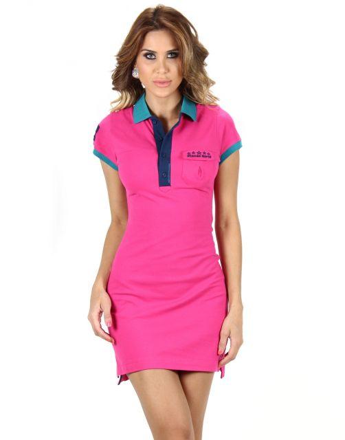 vestido polo curto rosa