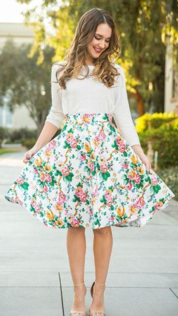 vestidos fofos com saia floral