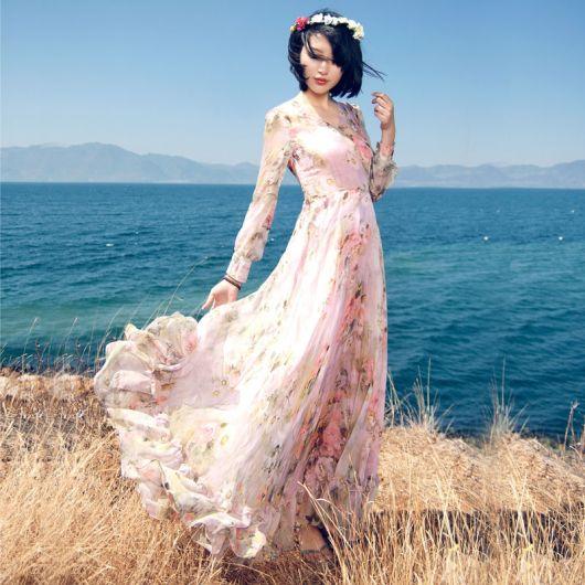 vestidos fofos longo estilo romântico