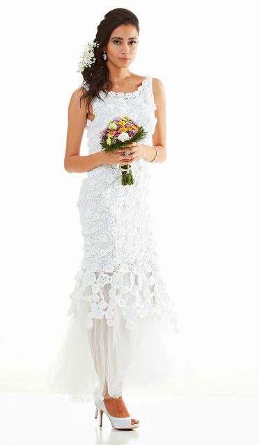 Vestido-de-noiva-de-crochê estilo sereia