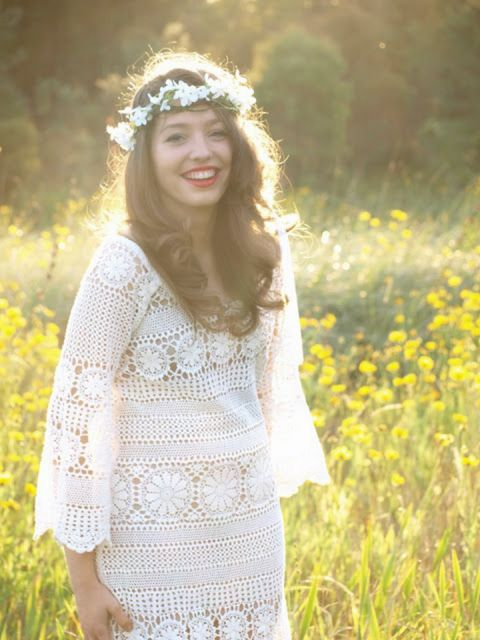 Vestido-de-noiva-de-crochê gracioso