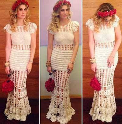 Vestido-de-noiva-de-crochê modelo sereia