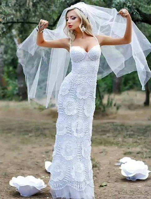 8d5672135 Vestido de noiva de crochê: 45 fotos, gráficos e como fazer!