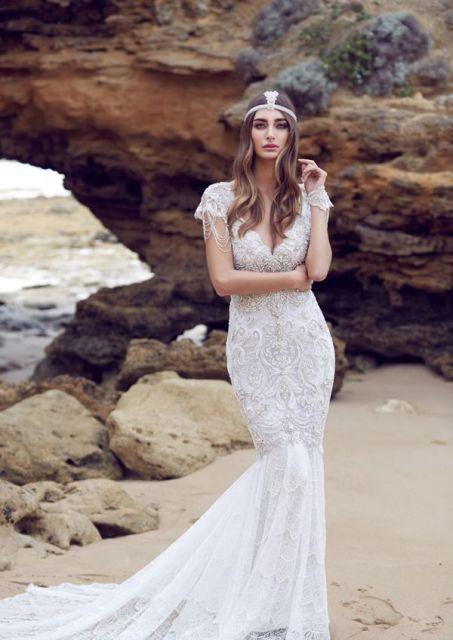 Vestido-de-noiva-de-crochê sereia