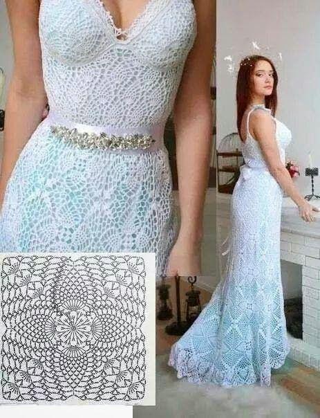 Vestido-de-noiva-de-crochê- sereia