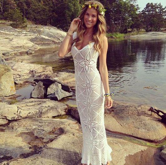 Vestido-de-noiva-de-crochê tipo sereia