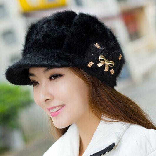 boina feminina com aba preto