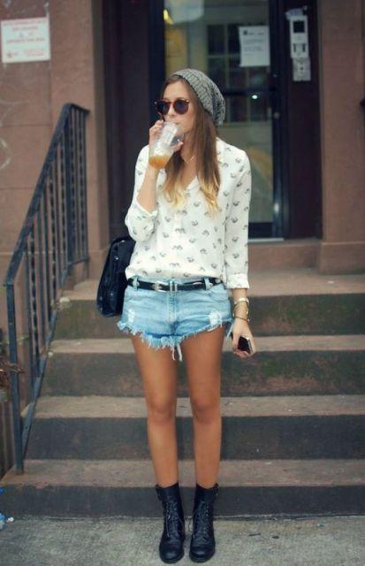 boina feminina verão com shorts