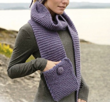 cachecol de crochê com bolso