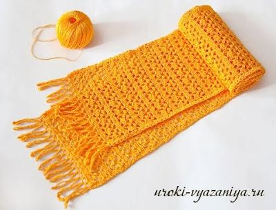 cachecol de croche amarelo