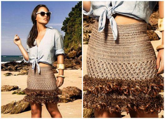 fotos de saia de tricô