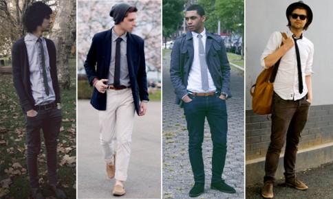 gravata slim com calça jeans