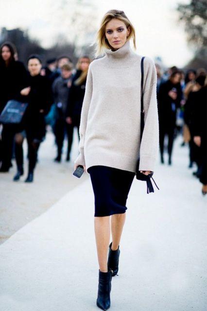 looks com ankle boot com saia moda inverno