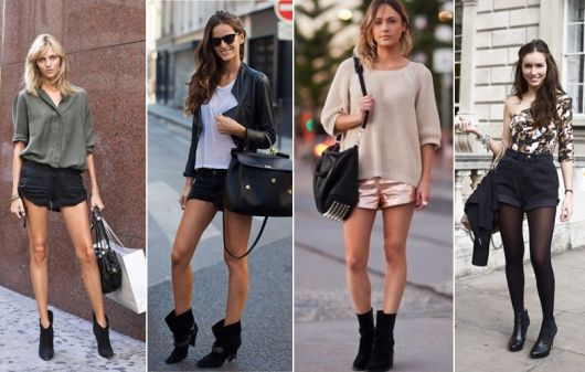 looks com ankle boot com short curto