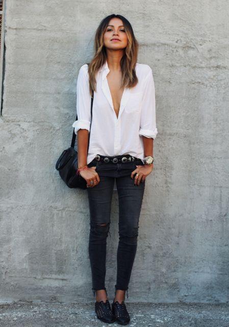 dicas de looks com camisa branca básica