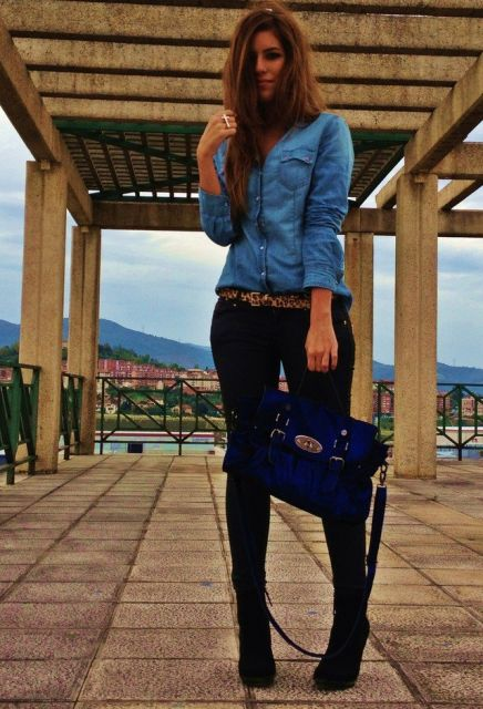looks com camisa jeans com calça