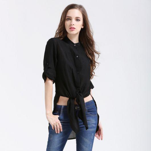 looks com camisa preta básica