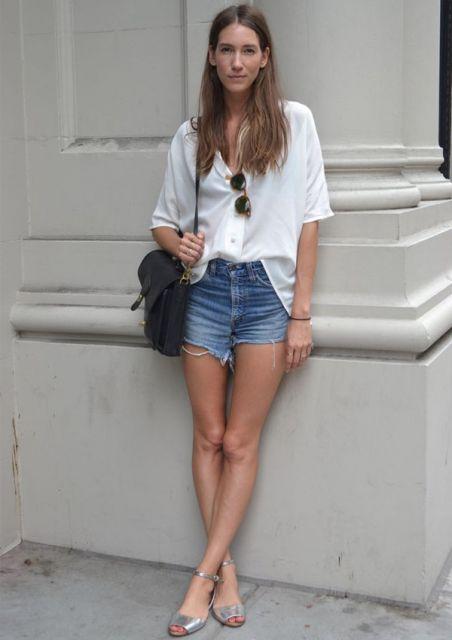 looks com camisa com shorts jeans
