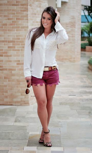 looks com camisa e short curto