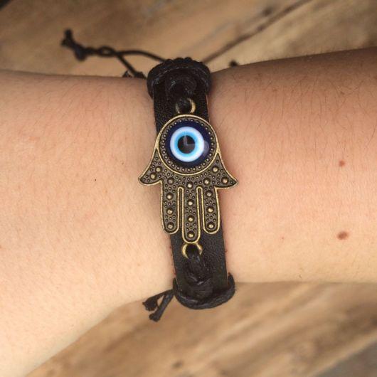 pulseiras hippie de couro com olho grego