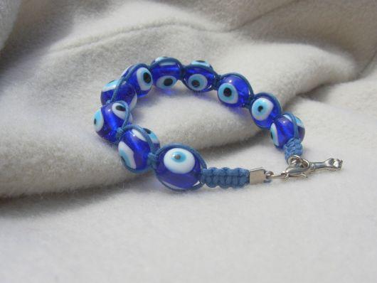 pulseiras hippie azul com olho grego