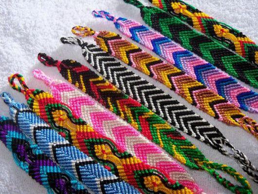 pulseiras hippie técnica macramê