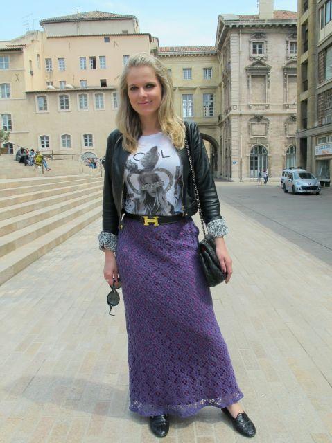 saia de tricô lilás com cinto