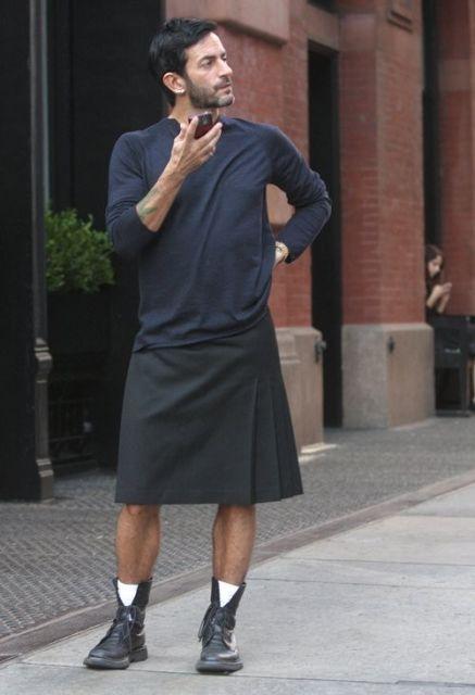saia masculina com bota como usar