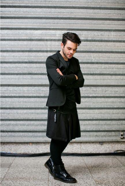 saia masculina com calça ideias