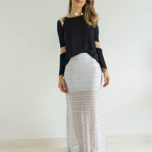 saia de tricô longa branca