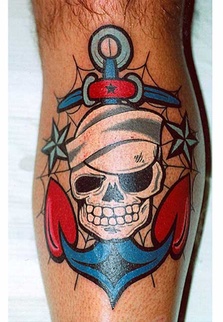 tattoo old school caveira masculina