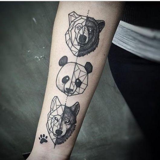 tatuagem geométrica animais