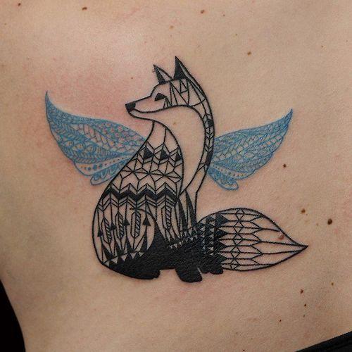 tatuagem geométrica cão