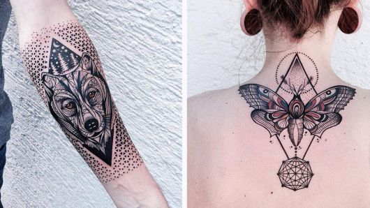 tatuagem geométrica de animal